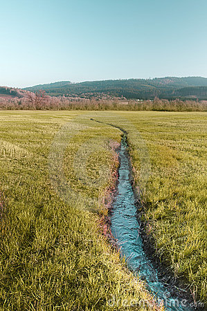 Free Small River In Hay Field Stock Image - 13503721