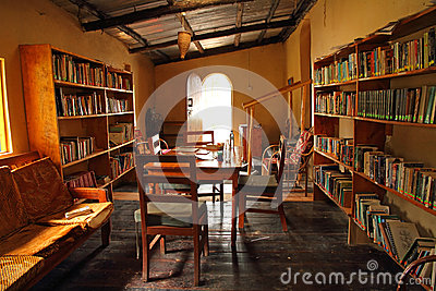 Small Rustic Library Editorial Photography