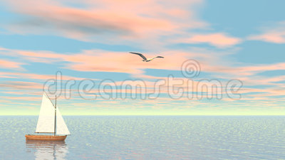 Small sailboat - 3D render. One small wooden sailboat floating quietly on the ocean next to seagull by sunset stock illustration