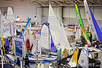 Small Sailboats At Big Blue Sea Expo,Rome 2011 Editorial Photography