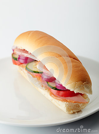 Small sandwich with deli meats and vegetables