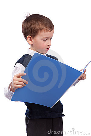 Small schoolboy reads  book, isolation