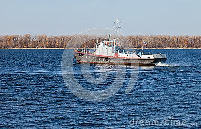 Small ship on river Volga