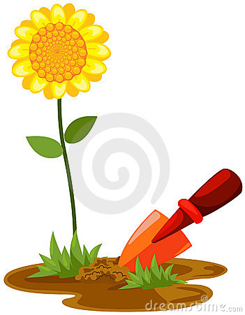 Small shovel with sunflower