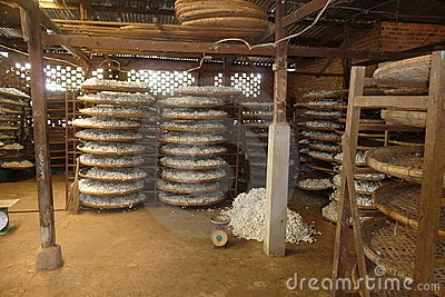 Small silk factory in Vietnam Editorial Stock Image