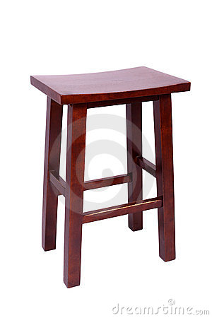 Small simple stool isolated on white