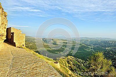 Small spanish old town Ares with mountains view.