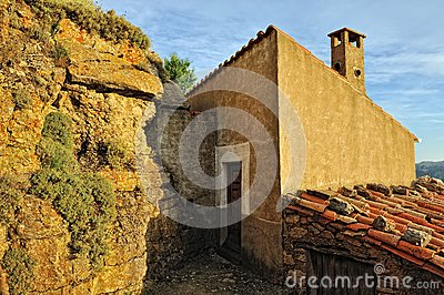 Small spanish old town Ares with mountains view