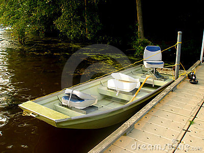 Small Sport Fishing Boat in Lake