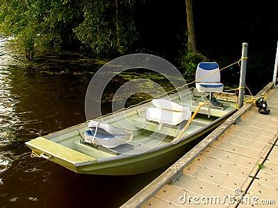 Small Sport Fishing Boat in Lake
