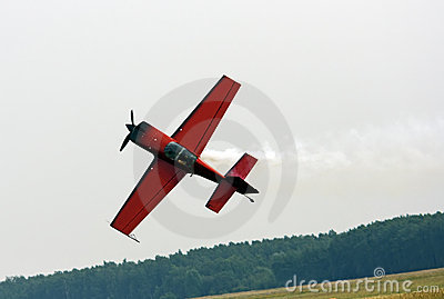 Small sports plane when performing aerobatics