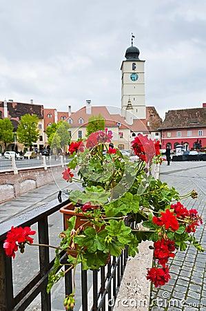 Small square in Sibiu, Romania