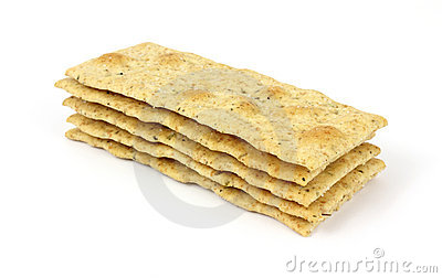 Small stack of seasoned flatbread crackers