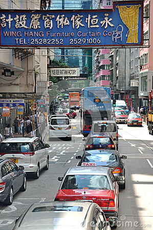 Small street with ad board, Hongkong Editorial Photography