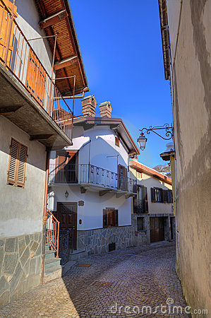 Small street and houses of Limone Piemonte.