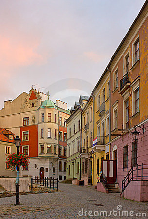 Small street in Lublin, Poland