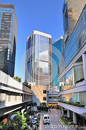 Small street among modern buildings, Hongkong Editorial Photography