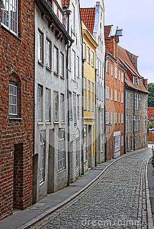 Small street with old buildings in Lubeck