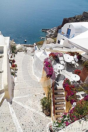Small street on Santorini island