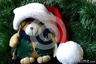 Small Stuffed Teddy Bear Wearing Santa s Hat