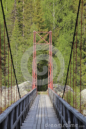 Free Small Suspension Bridge In Jaemtland In Sweden Royalty Free Stock Photos - 76860488