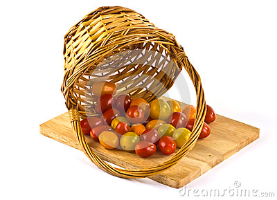 Small tomatoes in a basket