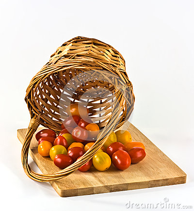 baby tomatoes in a basket