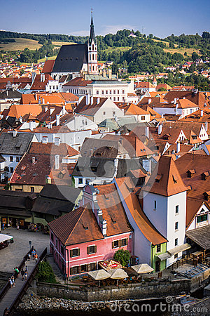 The small town of Cesky Krumlov seen from the castle hill