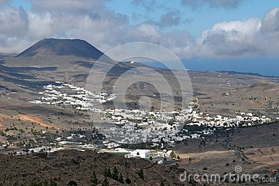 Small town in the desert near a volcan