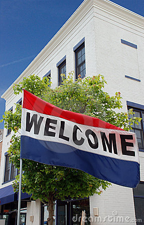 Free Small Town Main Street Welcome Flag Stock Photos - 17215433