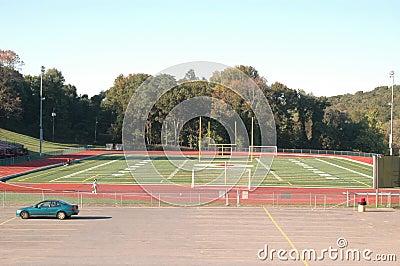 Small town school sports field