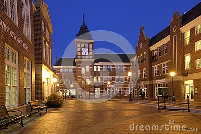 Small town square at twilight Editorial Image