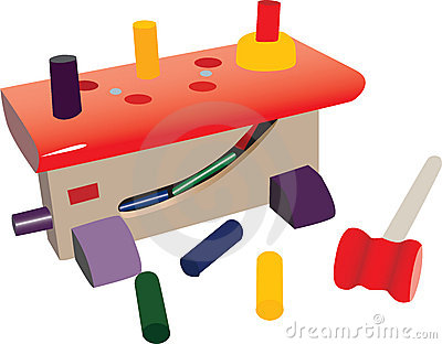 Small toy workshop, with plastic tools