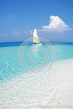 Free Small Tropical Sandbank With A Boat Royalty Free Stock Photos - 4412218
