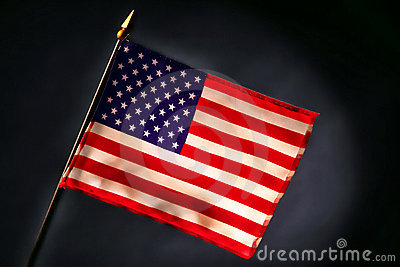 Small US American Flag on Smoky Black Background