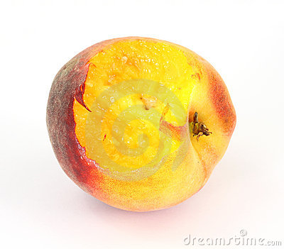 Small utility peach that has one bite eaten