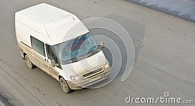 Small van bus on road
