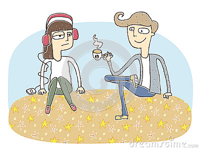 Small vignette illustration of a flirting couple