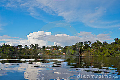 Small village on the coast of Amazon river