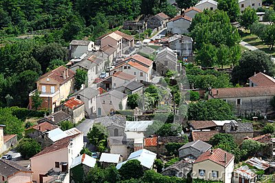 Small village in Europe with clustered houses