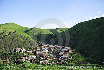 Small village hiding in mountains
