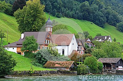 The small village on the hills around Lake Luzern