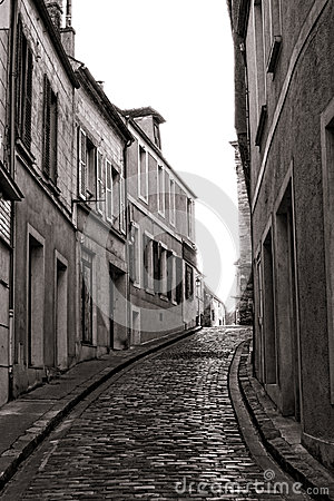 Free Small Village Narrow Cobblestone Street In France Stock Photography - 28256862