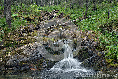 Small waterfall on Katayka river, Northern Ural Mountains
