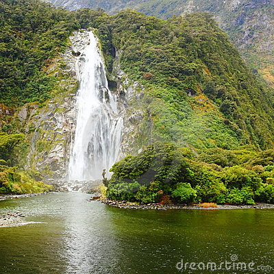 A small waterfall at Milford Sound