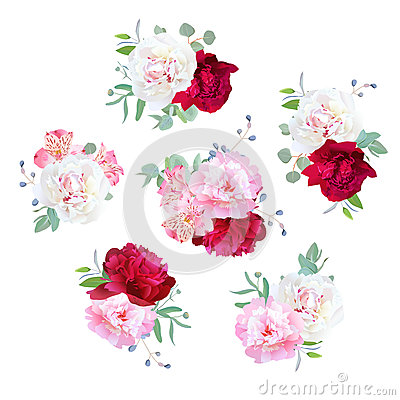 Free Small Wedding Floral Bouquets Of Peony, Alstroemeria Lily, Mint Eucaliptus. Stock Image - 75738691