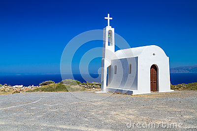 Small white church on the coast of Crete