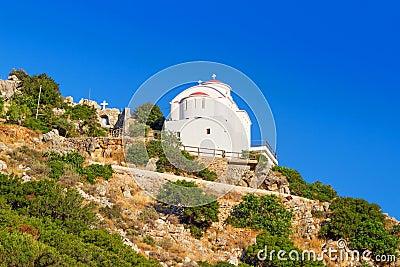 Small white church on the coast of Crete