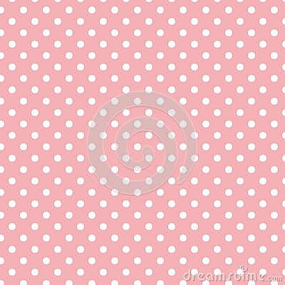 Small White Polka dots on Pastel Light Pink Vector Illustration