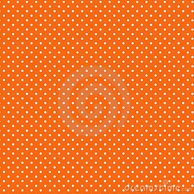 Small White Polkadots, Orange Background